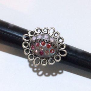 Bague argentée cabochons Swarovski gris rose