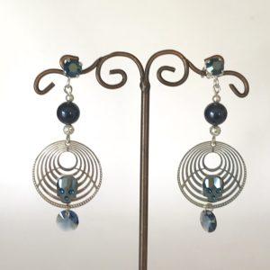 Boucles d'oreilles tête de mort Swarovski métallic blue