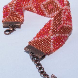 Bracelet tissé perles corail bronze