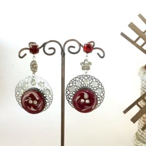 Boucles d'oreilles bouton rouge