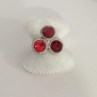 Bague 3 cabochons rouge crystal Swarovski