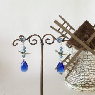 Boucles d'oreilles majestic blue Swarovski