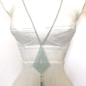 Collier argenté pendentif vert d'eau
