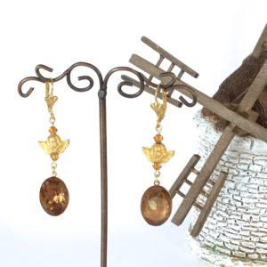 Boucles d'oreilles or cabochon topaz