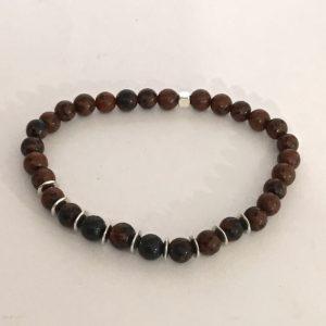 Bracelet Homme perles obsidienne