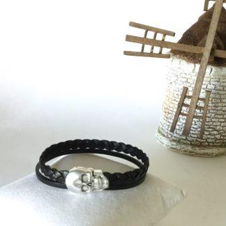 bracelet Homme cuir noir tête de mort