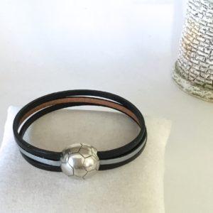 Bracelet cuir Homme noir gris Foot