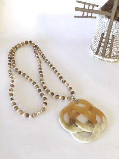 Collier rosace corne perles jaspe