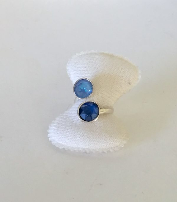 Bague duo cabochon blue Swarovski