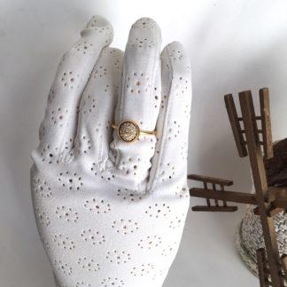 Bague doré cabochon Swarovski beige