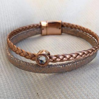 Bracelet cuir 2 rangs doré rose strass Swarovski