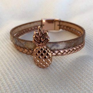 Bracelet cuir 2 rangs doré rose ananas