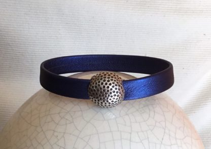 Bracelet cuir bleu balle de golf