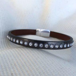 Bracelet cuir gris strass Swarovski