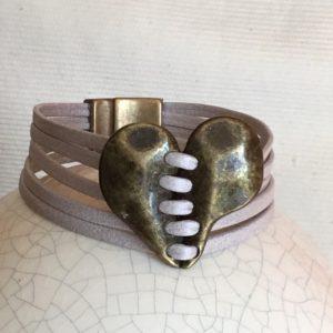Bracelet cuir 6 rangs cœur bronze