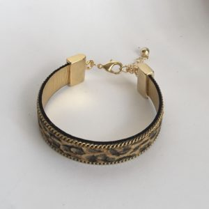 Bracelet cuir écaille doré