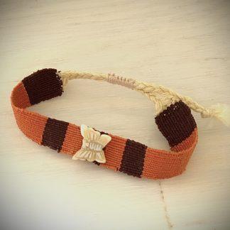 Bracelet wrap cuir noir doré rose